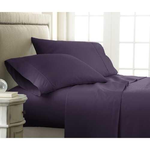 Case of [12] Full Premium Embossed Checker 4 Piece Sheet Set - Purple