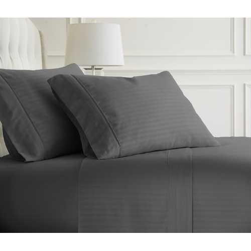Case of [12] Full Premium Embossed Striped 4 Piece Sheet Set - Gray
