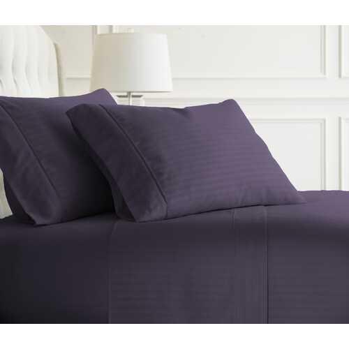 Case of [12] Full Premium Embossed Striped 4 Piece Sheet Set - Purple