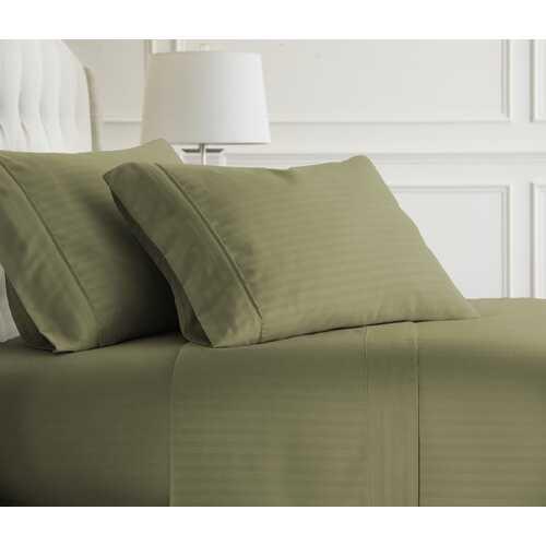 Case of [12] Full Premium Embossed Striped 4 Piece Sheet Set - Sage