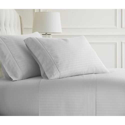 Case of [12] Full Premium Embossed Striped 4 Piece Sheet Set - White