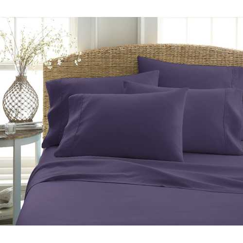 Case of [12] Full Premium Double Brushed 6 Piece Sheet Set - Purple