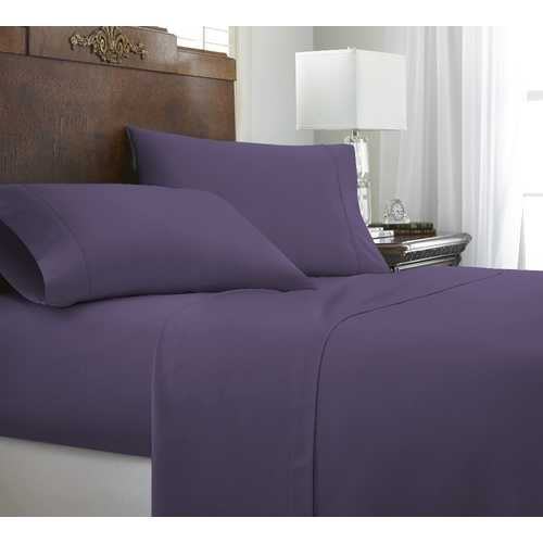 Case of [12] California King Premium Embossed Chevron 4 Piece Sheet Set - Purple