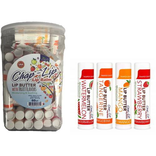 Case of [120] Chap-Lip Lip Fruit Flavored Butter Balm - 0.15 oz, 60 Count, Canister