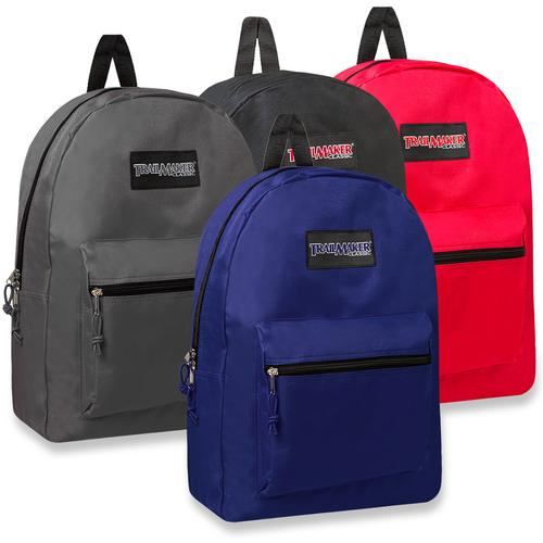 "Case of [24] 17"" Trailmaker Basic Backpack - 6 Assorted Colors"