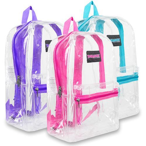 "Case of [24] 17"" Trailmaker Girl's Clear Backpack"