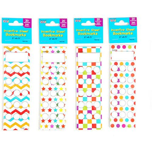 Case of [12] 20 Count Incentive Sheet Bookmarks with 5 Sheets of 240 Stickers