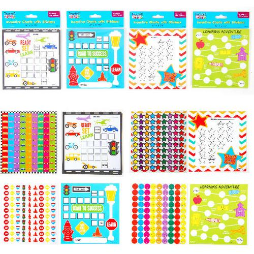 Case of [12] 30 Incentive Charts per Package plus 450 Stickers, one Design per Package