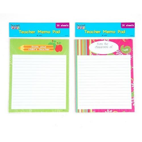 """Case of [12] 30 Sheet Teacher """"From the Classroom of"""" Memo Pad with Colorful Border"""