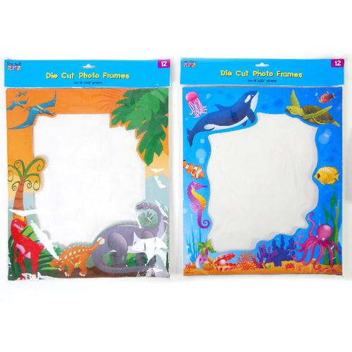 Case of [12] 12 count Die-Cut Cardboard Photo Frames with Dinosaur and Sealife Themes