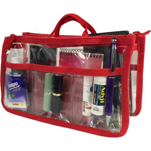 Case of [20] K-Cliffs Clear Handbag Organizer - Red Trim