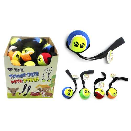 Case of [36] Dog Toy - Tennis Ball with Strap