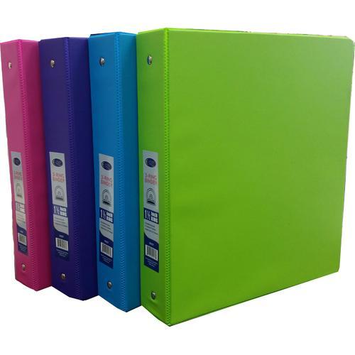 """Case of [24] 1.5"""" 3-Ring Vinyl Binder - 4 Neon Colors"""