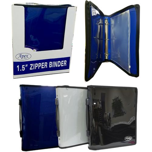 "Case of [12] 1.5"" 3 Ring Zipper Binder in Assorted Colors"