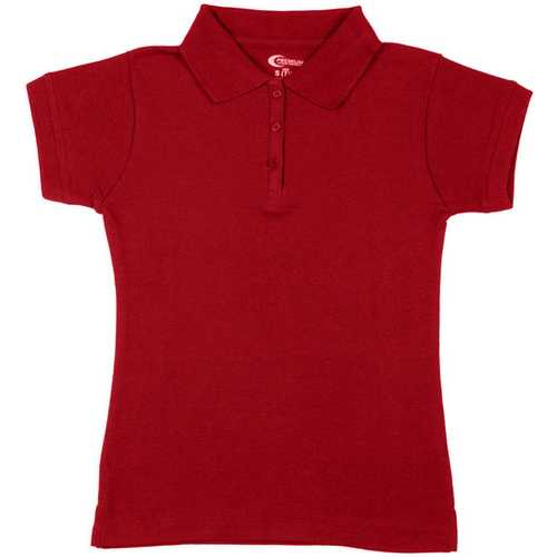 Case of [6] Premium Red Girls' Polo Shirts - Size 5/6 (XS)