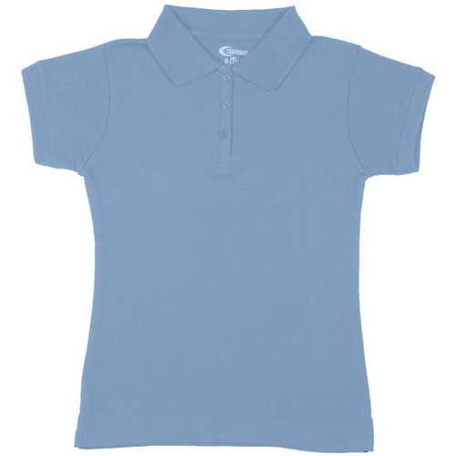 Case of [6] Premium Light Blue Girls' Polo Shirts - Size 7/8 (S)
