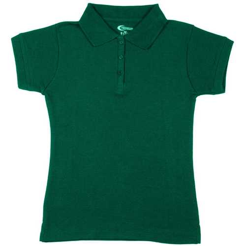 Case of [6] Premium Kelly Green Girls' Polo Shirts - Size 10/12 (M)