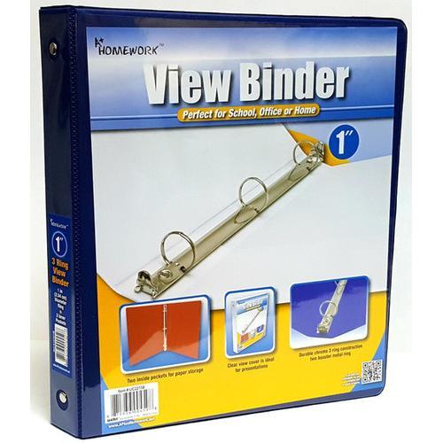 "Case of [12] A+ Homework 1"" 3-Ring Binder - Blue, View Cover, 2 Pocket"