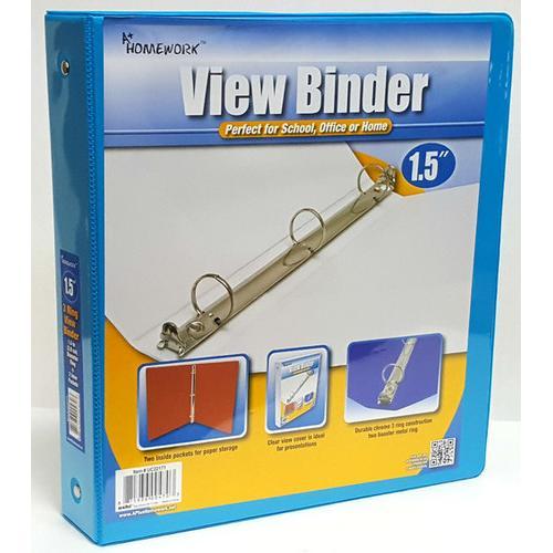 "Case of [12] 1.5"" Clear View Pocket Binder - Cyan"