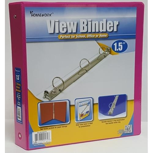 "Case of [12] 1.5"" Clear View Pocket Binder - Fuchsia"