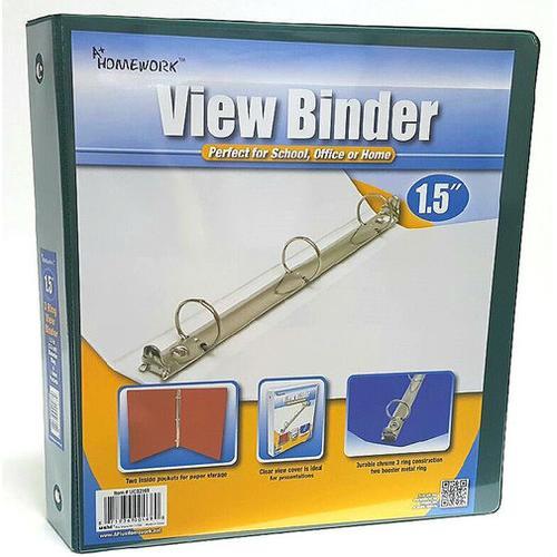 """Case of [12] 1.5"""" Clear View Pocket Binder - Dark Green"""