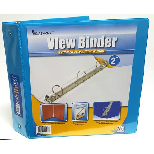 """Case of [12] A+ Homework 2"""" 3-Ring Binder - Cyan, 2 Pockets, View Cover"""
