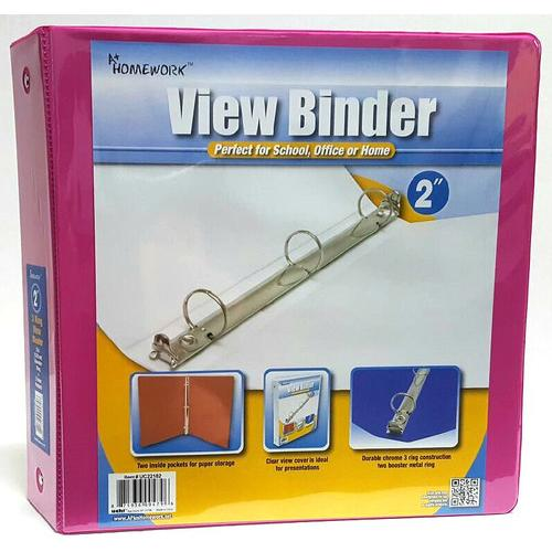 """Case of [12] 2"""" Clear View Pocket Binder - Fuchsia"""