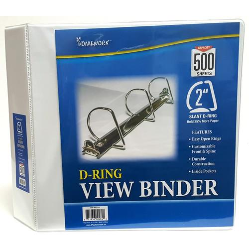 """Case of [12] A+ Homework 2"""" 3-Ring Binder - White, D-Ring, 2 Pockets , View Cover"""