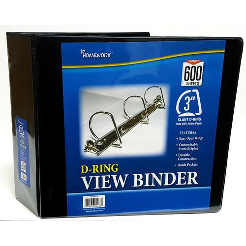 """Case of [12] A+ Homework 3"""" 3-Ring Binder - Black, D-Ring, 2 Interior Pockets, View Cover"""