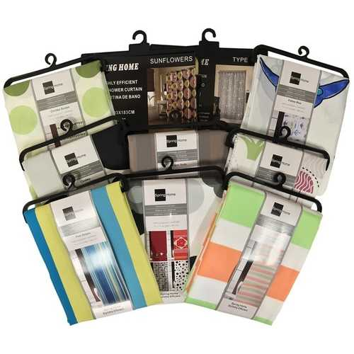 Case of [36] Fabric Shower Curtain - Assorted Design & Color