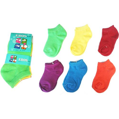 Case of [24] Toddler Girl's Low Cut Socks 3-Pack - Neon Solid C