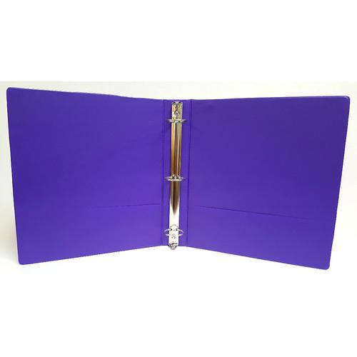 "Case of [12] 1"" Basic 3-Ring Binder w/ Two Inside Pockets - Purple"