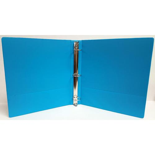 "Case of [12] 1"" Basic 3-Ring Binder w/ Two Inside Pockets - Cyan"