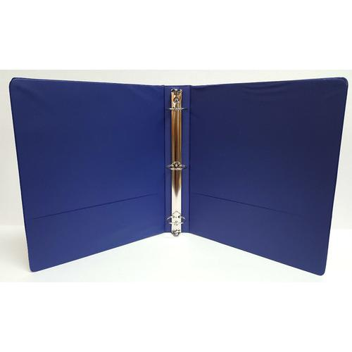 "Case of [12] 1"" Basic 3-Ring Binder w/ Two Inside Pockets - Blue"