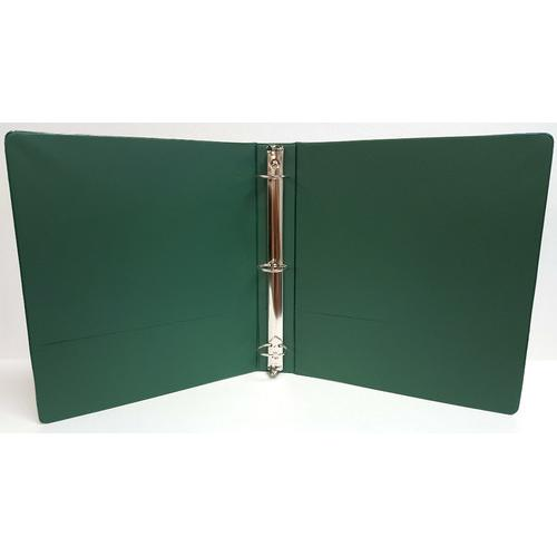 "Case of [12] 1"" Basic 3-Ring Binder w/ Two Inside Pockets - Green"