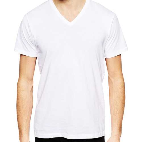 Case of [12] Cotton Plus V-neck T-Shirt - White - 4XL