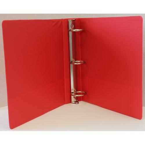 "Case of [12] 1"" Basic 3-Ring Binder w/ Two Inside Pockets - Red"