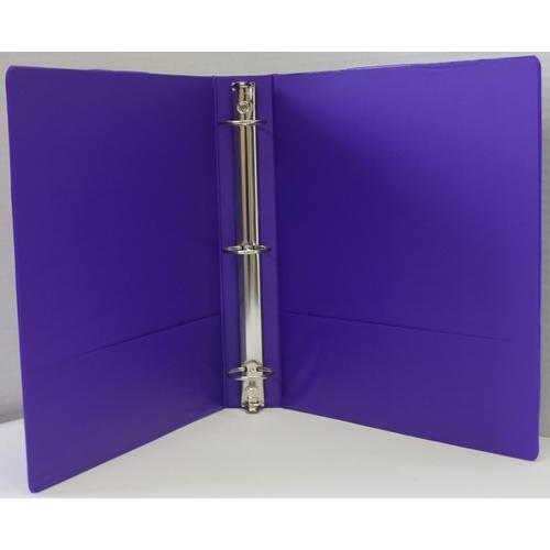 "Case of [12] 1.5"" Basic 3-Ring Binder w/ Two Inside Pockets - Purple"
