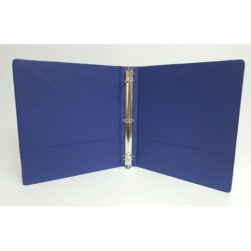 "Case of [12] 1.5"" Basic 3-Ring Binder w/ Two Inside Pockets - Blue"