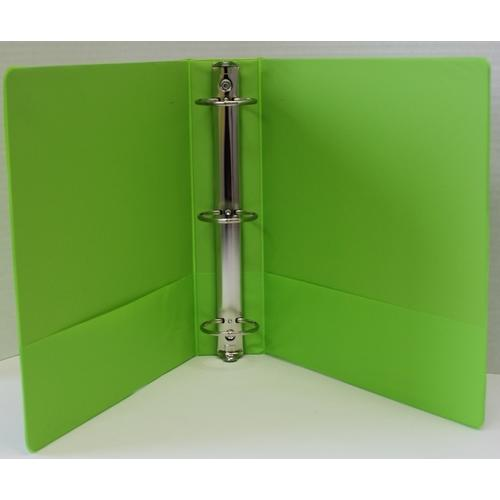 "Case of [12] 1.5"" Basic 3-Ring Binder w/ Two Inside Pockets - Lime"