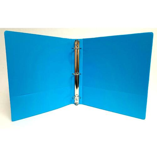 "Case of [12] 1.5"" Basic 3-Ring Binder w/ Two Inside Pockets - Cyan"
