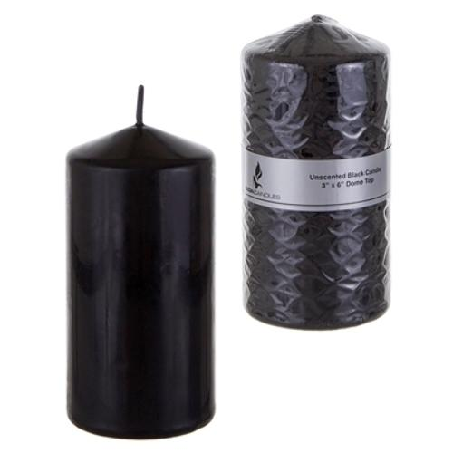 """Case of [24] 3"""" x 6"""" Domed Top Press Unscented Pillar Candle in Shrink Wrap - Black"""
