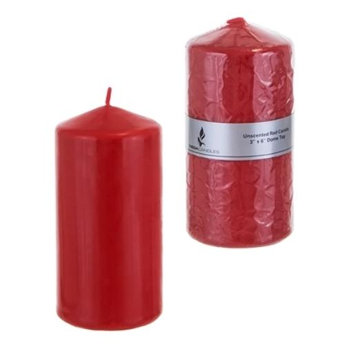 """Case of [24] 3"""" x 6"""" Domed Top Press Unscented Pillar Candle in Shrink Wrap - Red"""