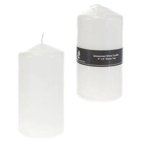 """Case of [24] 3"""" x 6"""" Domed Top Press Unscented Pillar Candle in Shrink Wrap - White"""