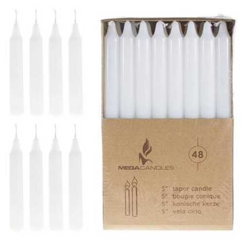"Case of [12] 48-Piece 5"" Unscented Straight Taper Candle in Brown Box - White"