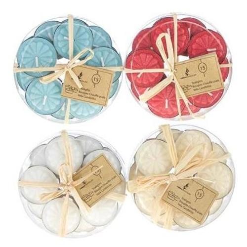 Case of [48] 15-Piece Unscented Tea Light Candle in Round Clear Box - Assorted
