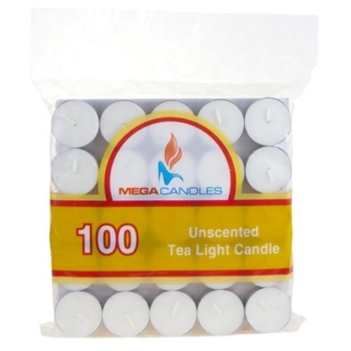 Case of [12] 100-Piece Unscented Tea Light Candle in Bag - White