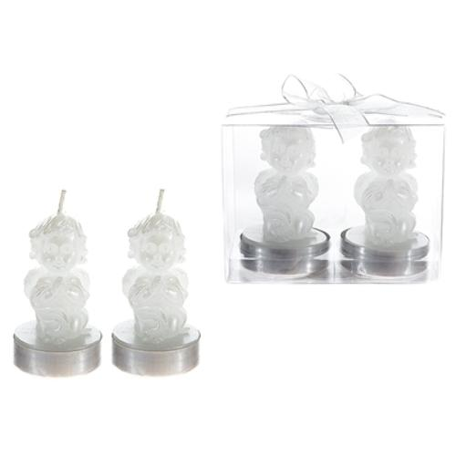 Case of [48] 2 piece Baby Angel Tealight Candle in Clear Box - White