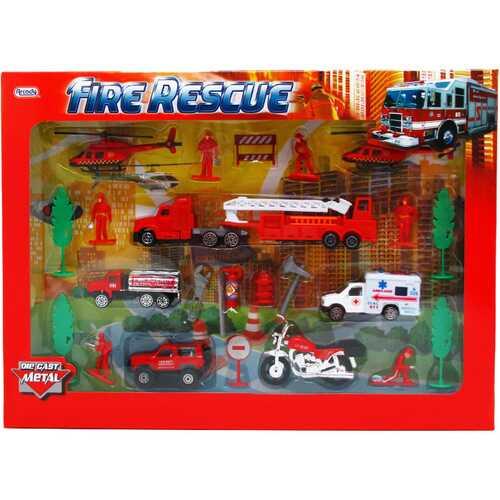 Case of [12] 25-Piece Diecast Metal Firefighter Play Set