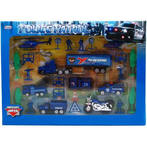 Case of [12] 25-Piece Diecast Metal Police Play Set